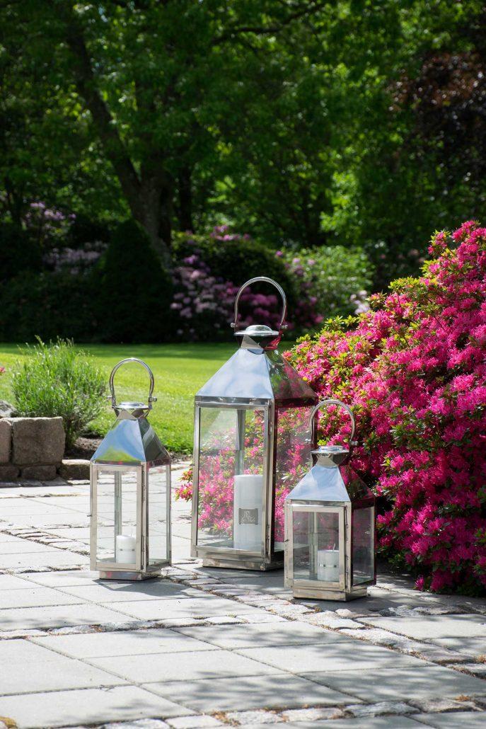 Sølv lanterner til haven