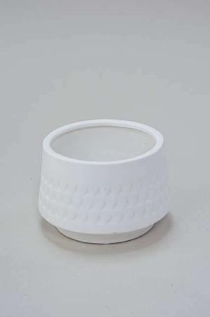 Keramik potteskjuler - Lille hvid urtepotte