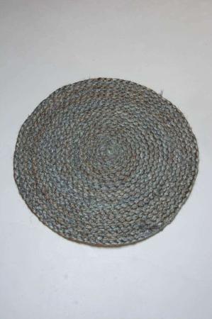 Rund dækkeserviet - grå jute