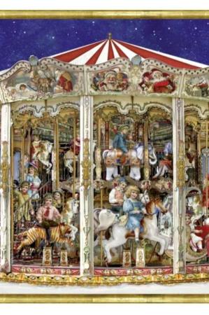 Norstalgisk låge julekalender med karusel - til børn og voksne