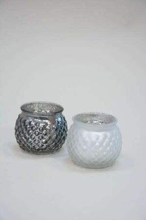 Fyrfadsstager af glas - mat hvid og sølv