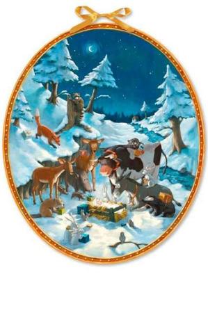 Gammeldags låge julekalender med dyr i sneen