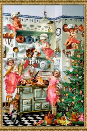 Gammeldags norstalgiske julekalender kort - engle