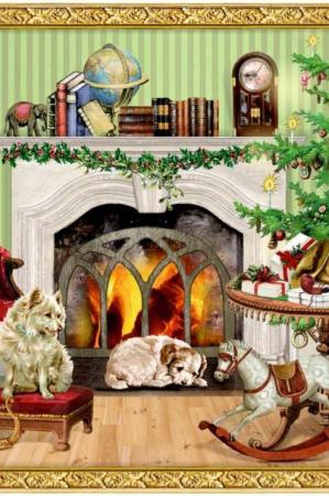 Gammeldags norstalgiske julekalender julekort - hunde