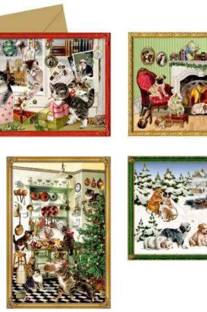 Gammeldags norstalgiske julekalender julekort med dyr