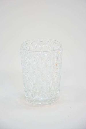 Glas fyrfadsstager med rude mønster