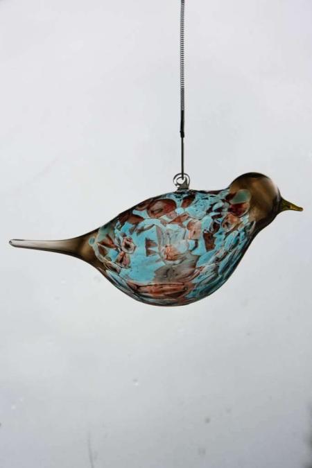 Glasfigur - Glasfugl der kan hænge - aqua robin