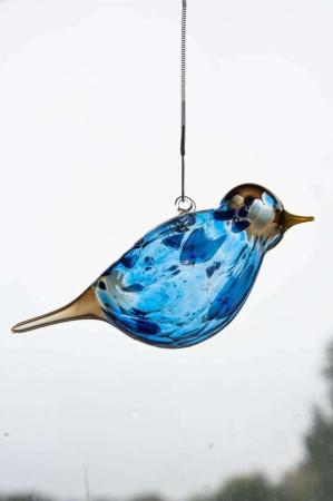 Glasfigur - Glasfugl der kan hænge - mørkeblå