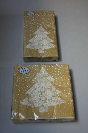 Guld servietter med juletræ