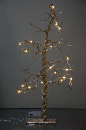 Guld træ med lyskæde