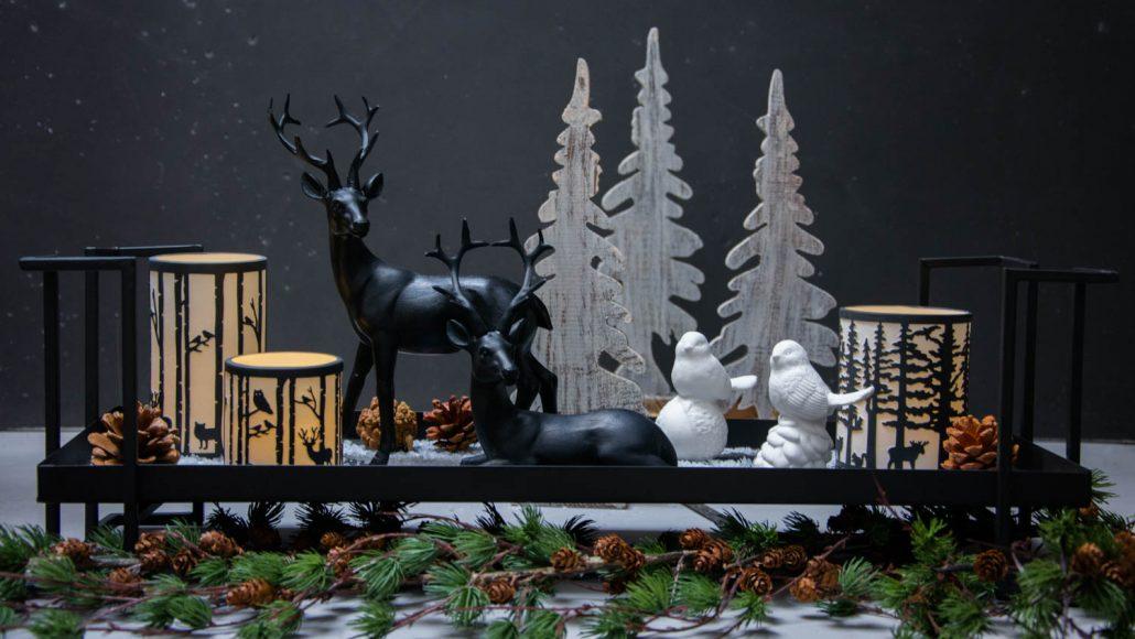 Juledekoration - Fyrfadsstager - sort og hvid