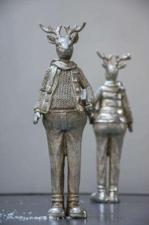 Julepynt - Stående elg figur i sølv