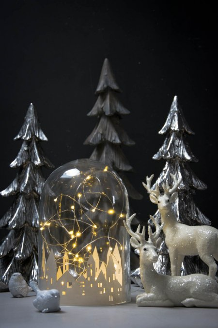 Julepynt - alternativ til levende lys - lyskæde i glasklokke