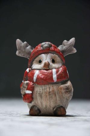 Julepynt - ugle med elg-hue