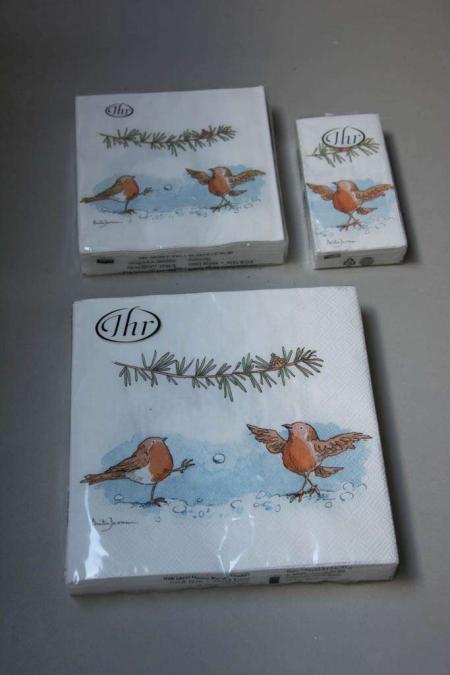 Juleservietter med fugle i sneen