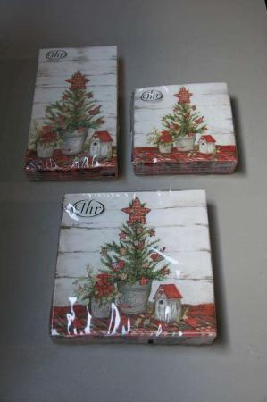 Juleservietter med juletræ i potte
