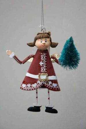 Juletræspynt - engel med juletræ