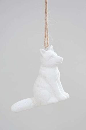 Juletræspynt - hvid ræv