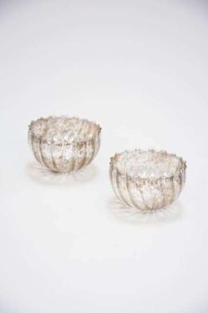 Små fyrfadsstager af glas - gylden