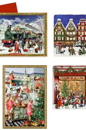 Gammeldags norstalgiske julekalender kort