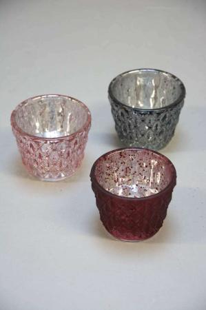 Farvede fyrfadsstager af glas