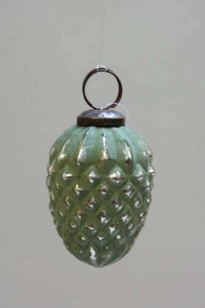 Glas juletræskugle fra Ib laursen - grøn kogle