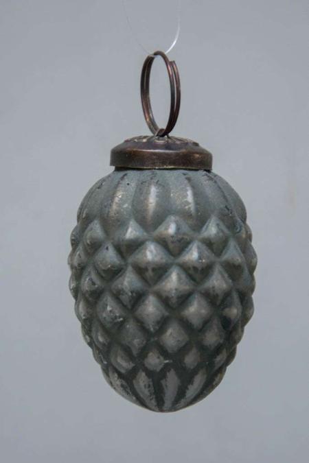 Grå kogle formet juletræskugle fra glas fra IB laursen