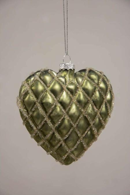 Grøn juletræskugle hjerte