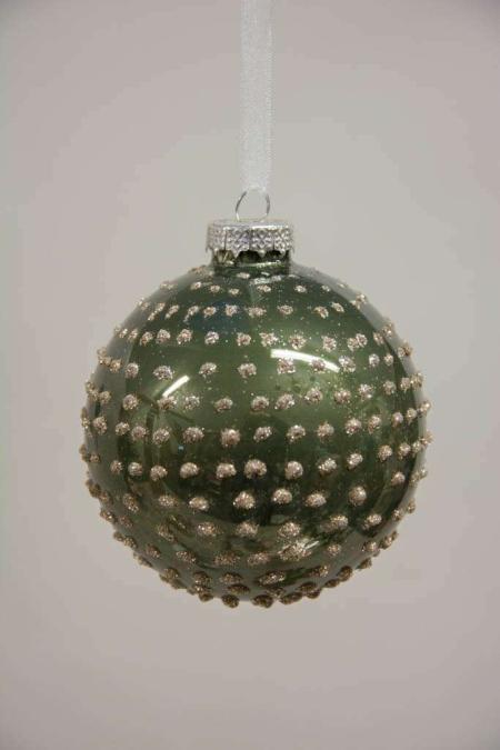 Grøn juletræskugle med guld prikker