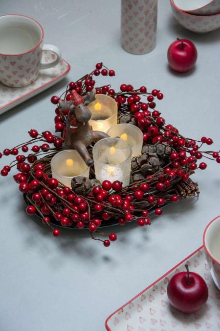 Hjerteformet Juledekoration med fyrfadslys