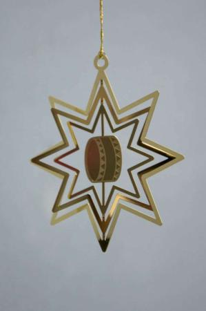 Juleophæng - guld stjerne med tromme