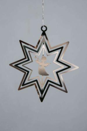 Juleophæng - sølv stjerne med engel