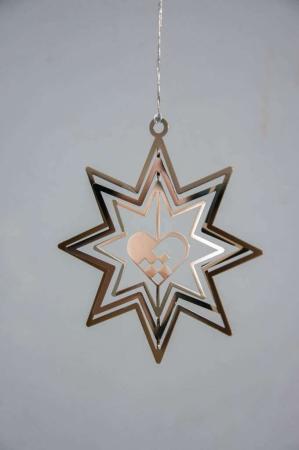 Juleophæng - sølv stjerne med julehjerte