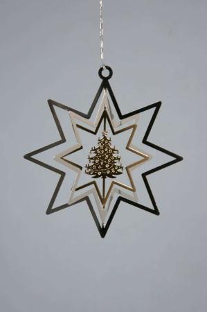 Juleophæng - sølv stjerne med juletræ