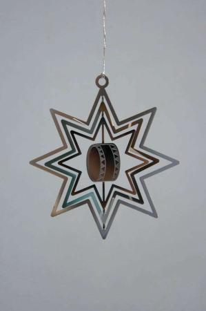 Juleophæng - sølv stjerne med tromme