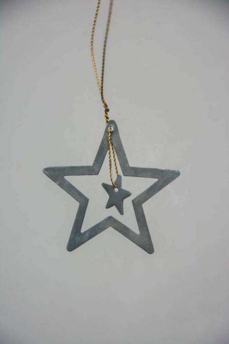 Juleophæng - zink stjerne med stjerne i midten