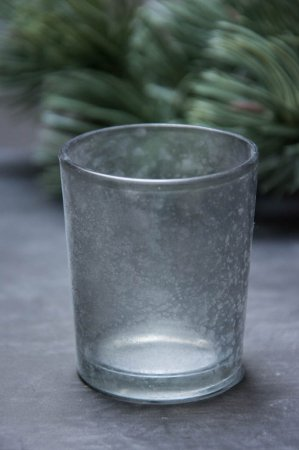 Lille grå fyrfadsstage i glas med matteret overflade