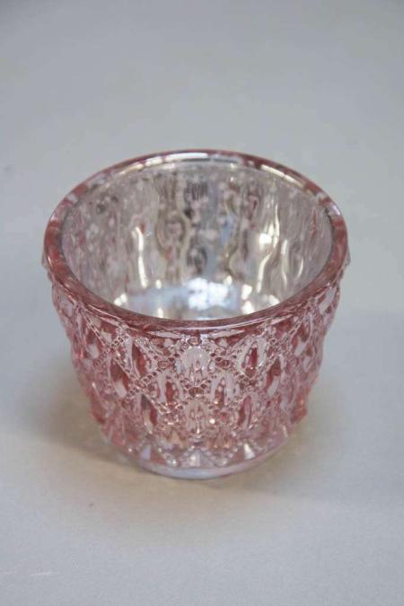 Lyserød fyrfadsstage af glas