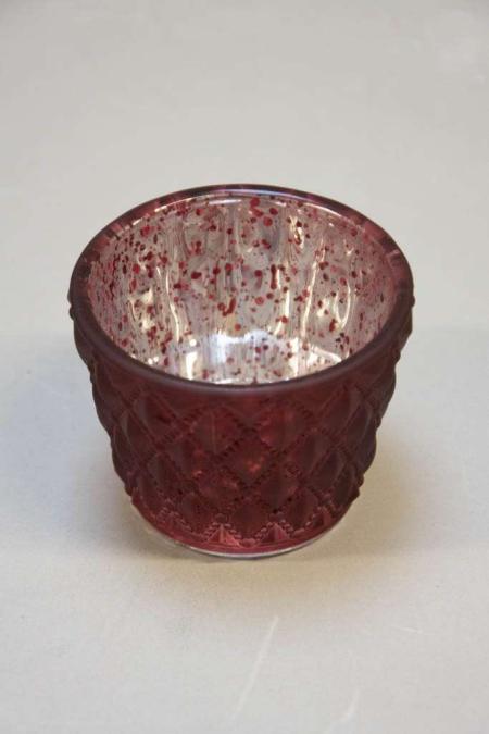 Rød fyrfadsstage af glas