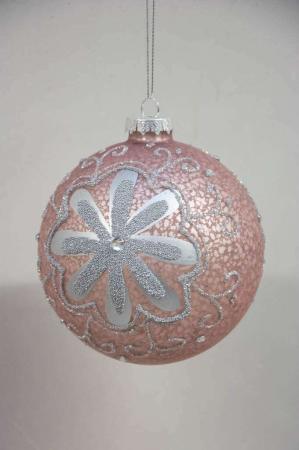 Rosa juletræskugle med sølv mønster