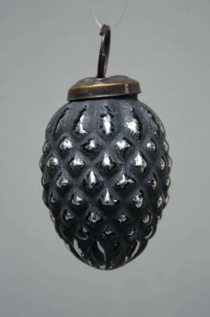 Sort kogle formet juletræskugle fra glas fra IB laursen