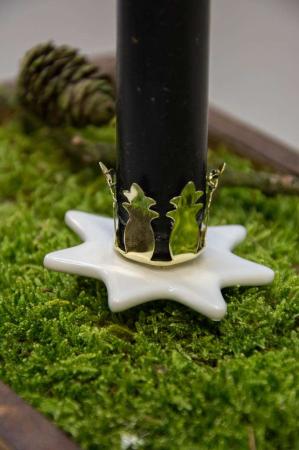 Stjerne formet lysholder på spyd til at stikke i adventskransen eller juledekorationen