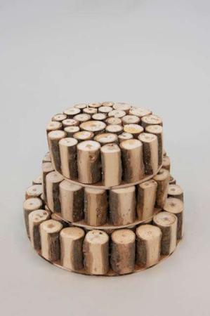 Træblok af små stykkker træ - Rund træblok af små stammer - Træblok til dekoration