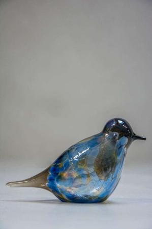 Glasfigurer - glasfugl - blå og gul