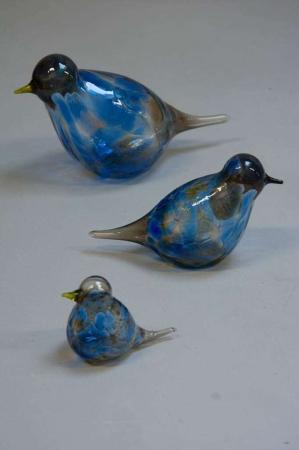Glasfigurer - glasfugle - blå og gul