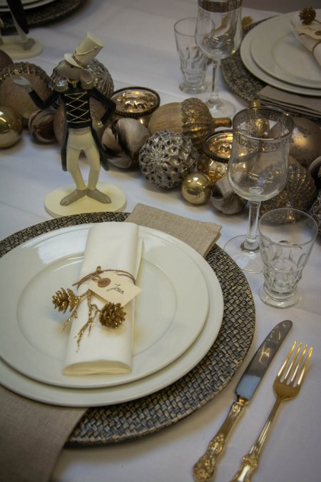 Julebord bordpynt - guld