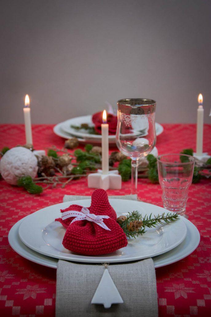 Julebord opdækning - rød og hvid