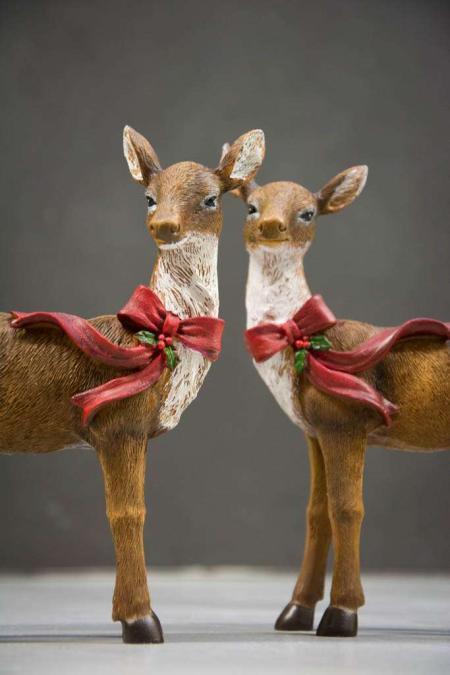 Julepynt - rådyr med julesløjfe
