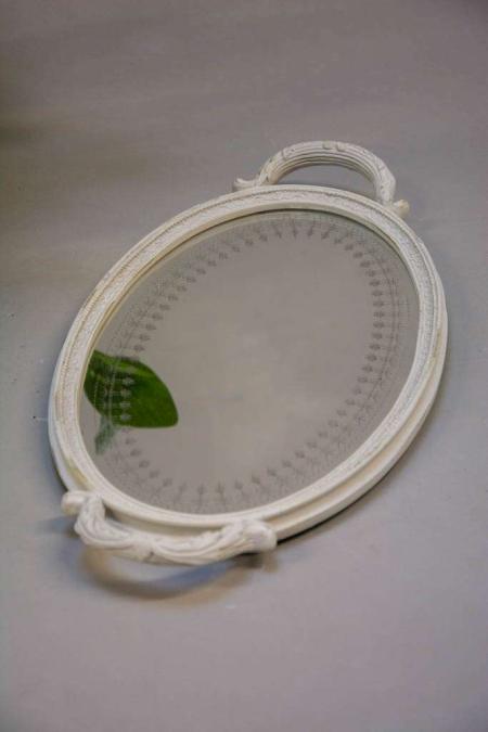 Oval spejl bakke med hank - hvid