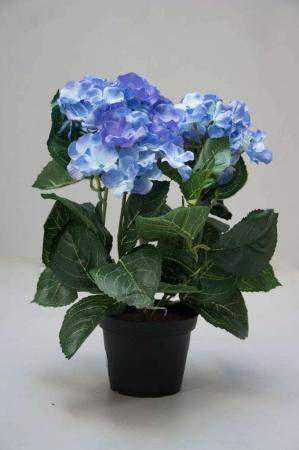 Kunstige blomster - blå hortensia i potte